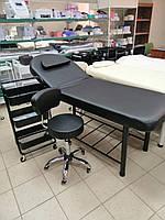 АКЦИЯ!!! Косметологическая кушетка СН-266А чёрная+стул+тележка