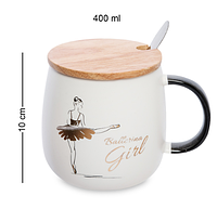 Чашка Балерина 400 мл MUG-296/1. Подарок на 8 марта