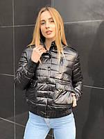 Весенняя осенняя женская короткая черная куртка