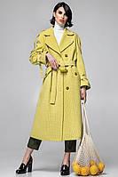 Длинное женское тренч-пальто в клетку