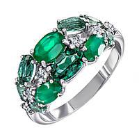 Серебряное кольцо с агатом, зеленым кварцем и фианитами 000137512 000137512 17 размер
