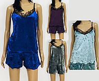 Женский велюровый комплект - топ и шорты. Неглиже женское с кружевом. Кружевной женский комплект.