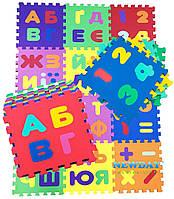 """Детский развивающий коврик-пазл """"Алфавит и математика"""" 30х30см, 12 элементов"""