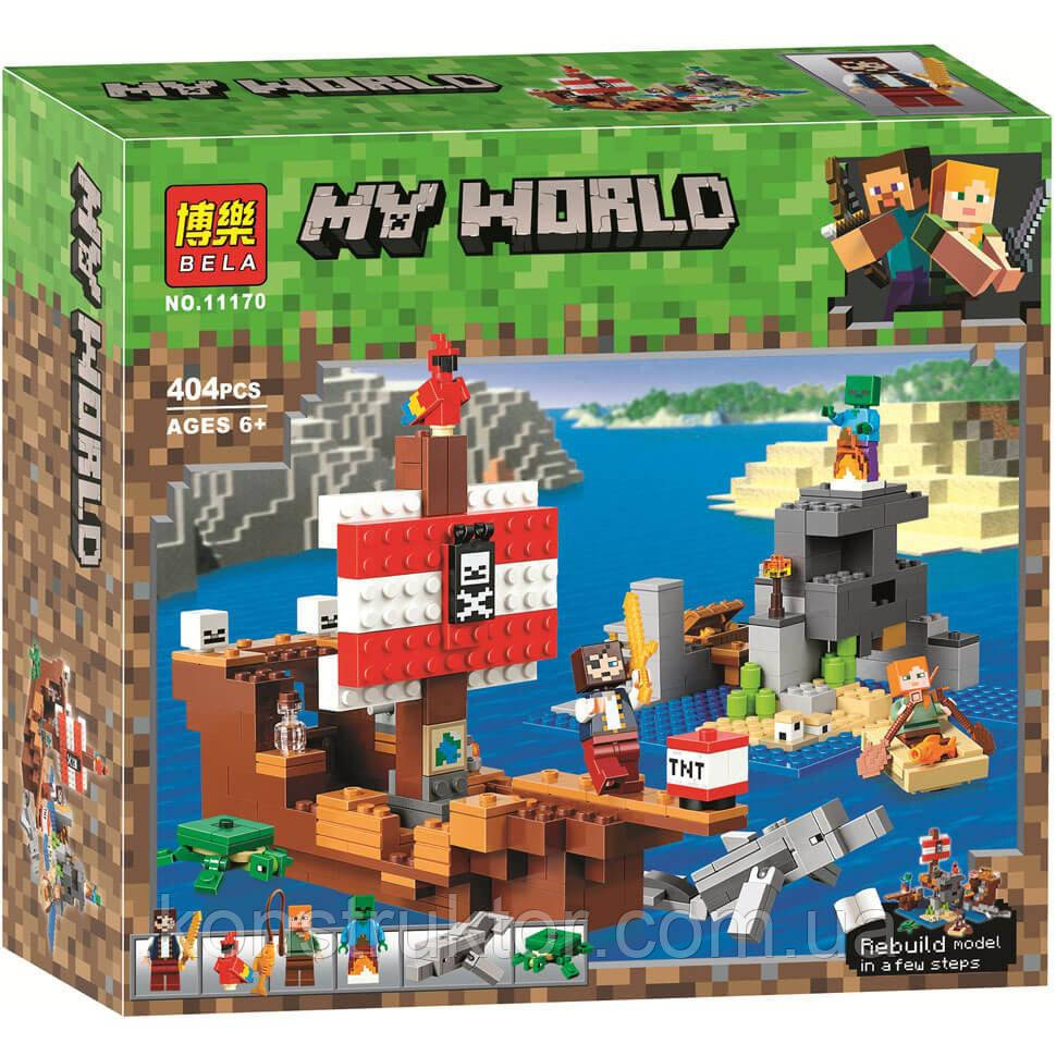 """Конструктор Bela 11170 Minecraft """"Приключения на пиратском корабле"""", 404 детали. Аналог Лего Майнкрафт 21152"""