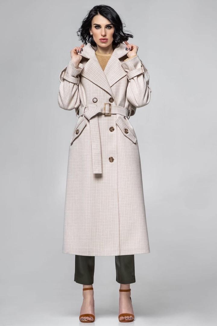 Длинное женское тренч - пальто в клетку