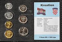 Набор монет Хорватии (1-50 лип,1 куна) 2001-2004 гг. (7 шт)