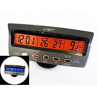 Автомобильные часы VST 7045V индикация заряда АКБ  вольтметр два термо датчика две подсветки (763580203), фото 1
