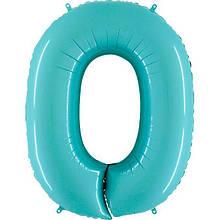 """Фольгована кулька цифра пастель Аквамарин """"0""""  """"40"""" Grabo"""