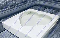 Коробка для пряников Белая, окно-Сердце 200*200*30