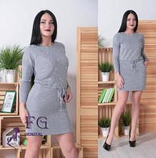 Серое платье-туника из ангоры выше колен с бусинками и карманами, фото 2