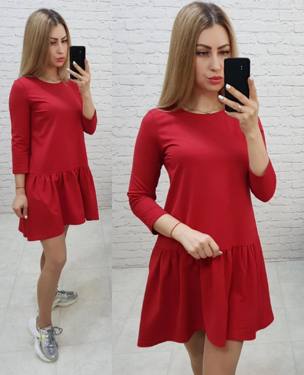 Женское платье трикотажное , модель 778, красное