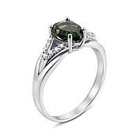 Серебряное кольцо с зеленым кварцем и фианитами 000135689 000135689 16.5 размер