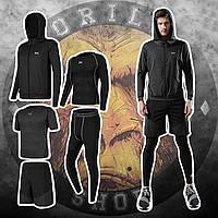Мужская компрессионная одежда. Комплект 5в1: Рашгард .Леггинсы. Шорты.Футболка. Худи. Спортивное термобельё