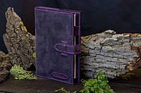 Кожаная женская обложка на ежедневник А5 ручной работы фиолетового цвета Tsar.store с ручным швом