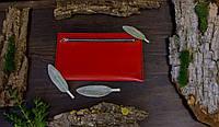 Кожаный женский клатч ручной работы в красном цвете Tsar.store с ручным прошивом и с фурнитурой YKK