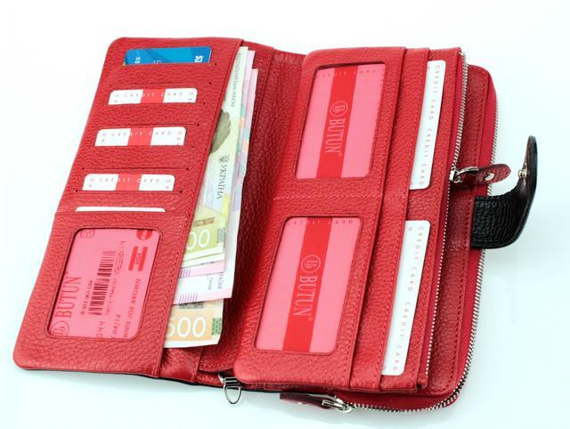 Мужской кошелек клатч BUTUN 022-004-039 кожаный черный с красным
