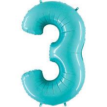 """Фольгована кулька цифра пастель Аквамарин """"3""""  """"40"""" Grabo"""