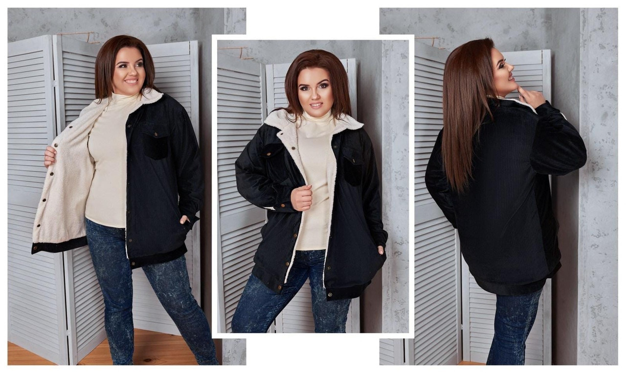 Женская модная вельветовая куртка с теплой подкладкой 48-58р (3расцв)