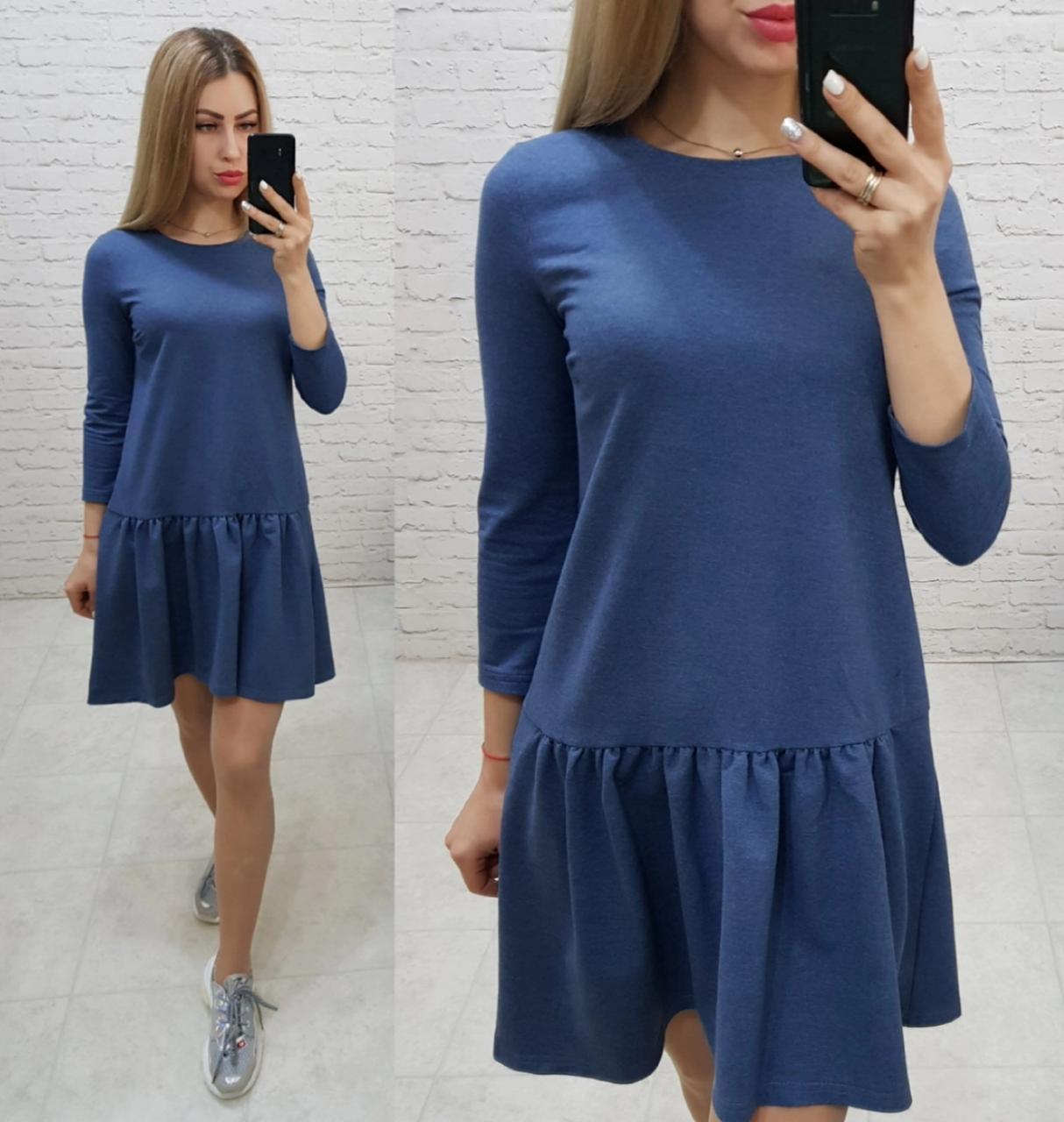Платье трикотажное , модель 778, джинс