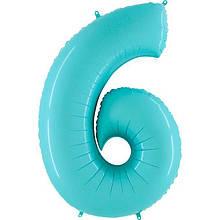 """Фольгована кулька цифра пастель Аквамарин """"6"""" """"40"""" Grabo"""