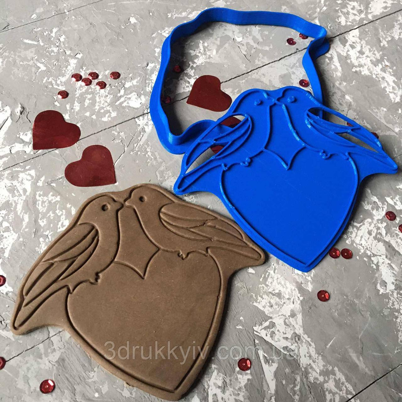"""Вирубка зі штампом """"Пташки з серцем"""" / Вырубка - формочка для пряников """"Птички с сердцем"""""""