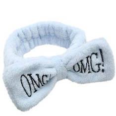 24113 Повязка для волос KATTi банная махровая бант OMG! голубая