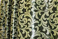 "Двусторонняя ткань блэкаут ""Вензель"". Высота 2,8м. Цвет зелёный с салатовым. 066ш"