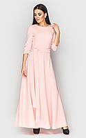 Нежное женское платье в пол пудровое