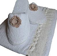 Набор для бани и сауны из 3х предметов белого цвета