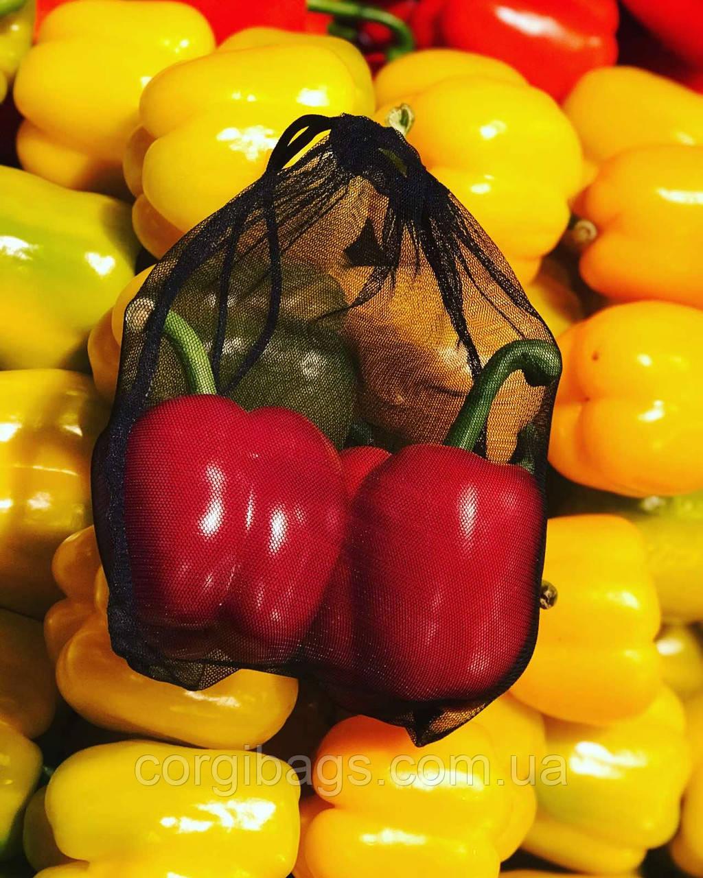 Многоразовые экомешочки для овощей и фруктов, сетчатые мешочки, торбочки для продуктов, упаковка, чёрные, р.S