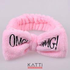 24115 Повязка для волос KATTi банная махровая бант OMG! светлая розовая, фото 2