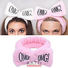 24115 Повязка для волос KATTi банная махровая бант OMG! светлая розовая, фото 3