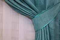 """Однотонная ткань """"Лён мешковина"""". Высота 2,8м. Цвет бирюзовый. 111ш"""