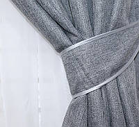 """Светонепроницаемая ткань блэкаут с фактурой """"Лен мешковина"""". Высота 2,8м. Цвет серый. 288ш"""