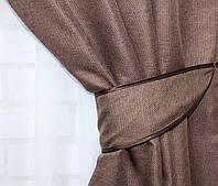 "Светонепроницаемая ткань блэкаут с фактурой ""Лен мешковина"". Высота 2,8м. Цвет коричневый. 277ш"