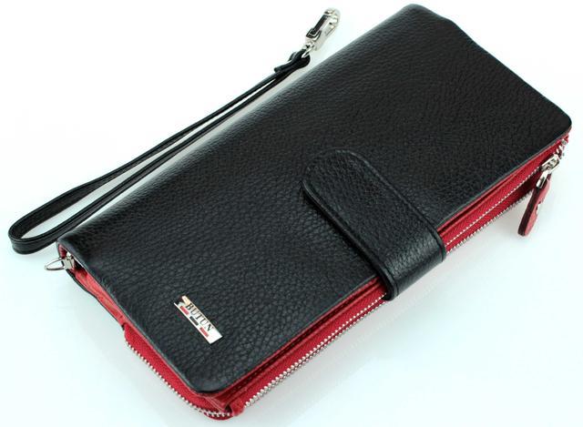 Женский кошелек клатч BUTUN 022-004-039 кожаный черный с красным