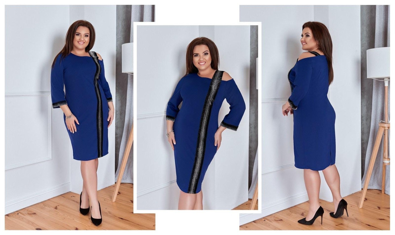 Элегантное женское платье с блестящей лентой (3расцв) 50-56р