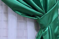 Однотонная ткань атлас. Ширина в рулоне 1,5м. Цвет зеленый. 037ша