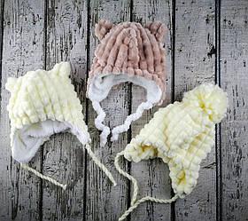 Шапка для дівчинки Зима з зав'язочками вельсофт Асорті, розмір 42, 1/20(42) Kairos Україна