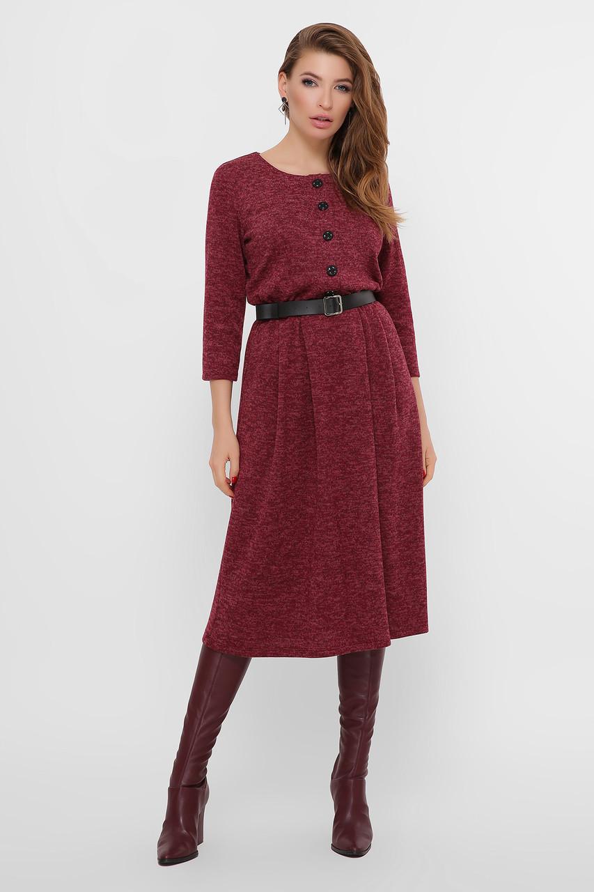 Повседневное женское платье, трикотаж ангора, бордо
