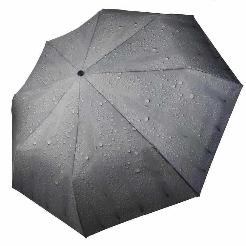"""Жіночий механічний парасольку """"Краплі дощу"""" від Feeling Rain, чорний, 305А-6"""