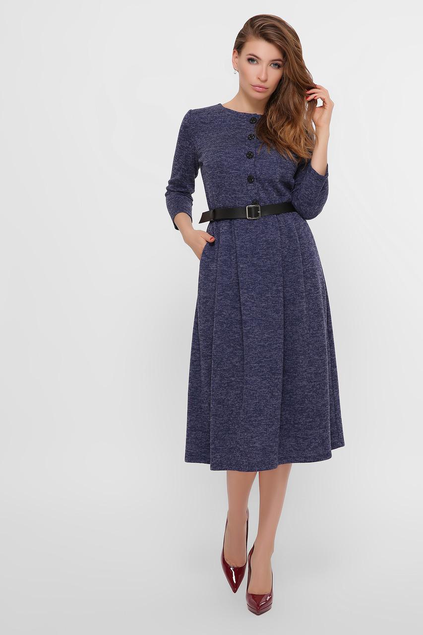Повседневное синее платье женское, трикотаж ангора