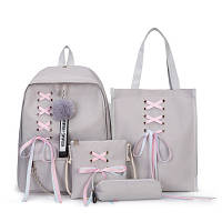 Рюкзак женский повседневный молодежный, сумка на плечо, клатч и пенал, набор 4в1, серый ( код: IBR111S )