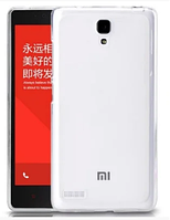 Силиконовый чехол для Xiaomi Redmi Note белый прозрачный