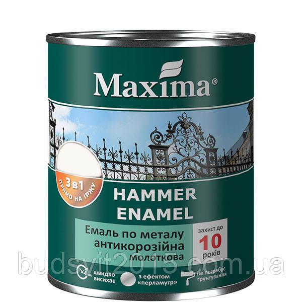 """Эмаль молотковая, темно-коричневая  антикоррозийная по металлу 3в1 ТМ """"Maxima"""" - 0.75 кг"""