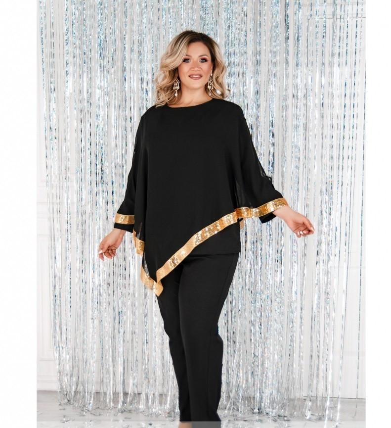 Оригинальный и праздничный костюм-тройка №730СБ-золото