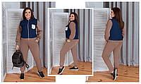 Женский прогулочный костюм триотаж+джинс2расцв (48-58р)