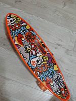 Пенни борд (Penny) граффити  со светящимися колесами и ручкой