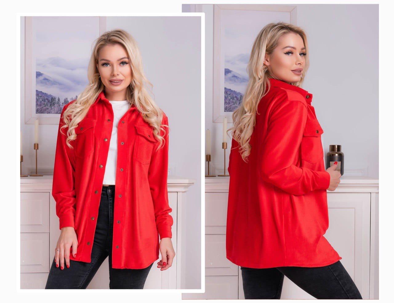Женская стильная модная вельветовая рубашка на кнопках (3расцв) 42-46р