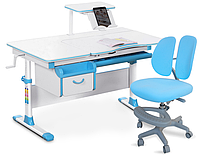 Комплект Evo-kids Evo-40 BL Blue (арт. Evo-40 BL + кресло Y-408 KBL)/(стол+ящик+полка+кресло)/ белая столешниц